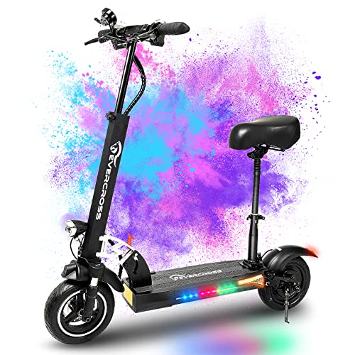 EVERCROSS Electric Scooter, Electric Scooter for Adults with 800W Motor, Up to 28MPH & 25 Miles-10'' Solid Tires, Scooter for Adults with Seat & Dual Braking, Folding Electric Scooter for Adults Teens