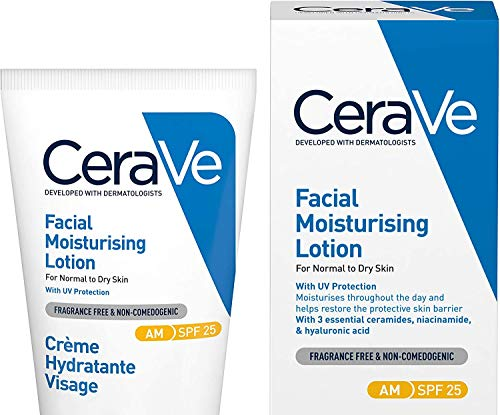 CeraVe AM Facial Moisturising Lotion SPF 25 | 52ml/1.75oz | Daily Facial Moisturiser with SPF for Normal to Dry Skin