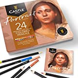 Castle Arts Themed 24 Colored Pencil Set in Tin Box, perfect 'Portraits' colors. Featuring, smooth colored cores, superior blending & layering performance achieves realistic results