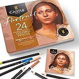 Castle Arts 24 lápices de colores en un estuche de metal, colores Portrait perfectos para dibujar, esbozar, colorear. Con núcleos blandos, mezcla superior y juego de capas