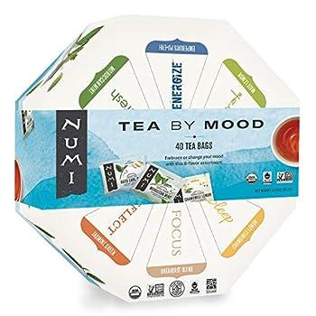 Numi Organic Tea By Mood Gift Set 40 Count Tea Bag Assortment - Premium Organic Black Pu-erh Green Mate Rooibos & Herbal Teas  Packaging May Vary
