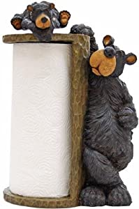 Willie Black Bear Paper Towel Holder Rack for Free Standing on Counter or Table (Great Kitchen Decor) 14""
