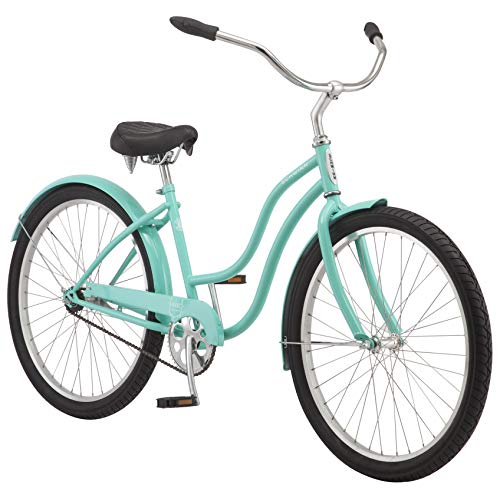 Schwinn Mikko Adult Beach Cruiser Bike, Featuring 17-Inch/Medium Steel Step-Over Frames, 1-Speed Drivetrains, Teal