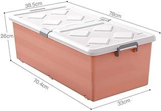 PPCP Bed Bottom Storage Box Plastic Flat Ultra-Thin Drawer Storage Box (Color : Orange)