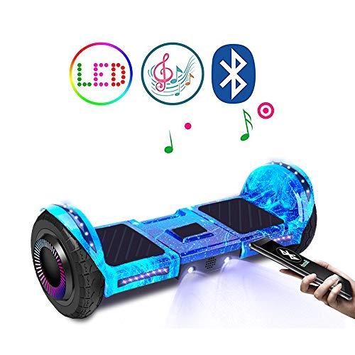 """QINGMM Aerotabla, con El Altavoz Bluetooth Y Alquiler De Luces LED De Auto-Equilibrio, 8"""" All Terrain Inteligente Scooter Eléctrico, para Niños Y Adultos,Azul"""