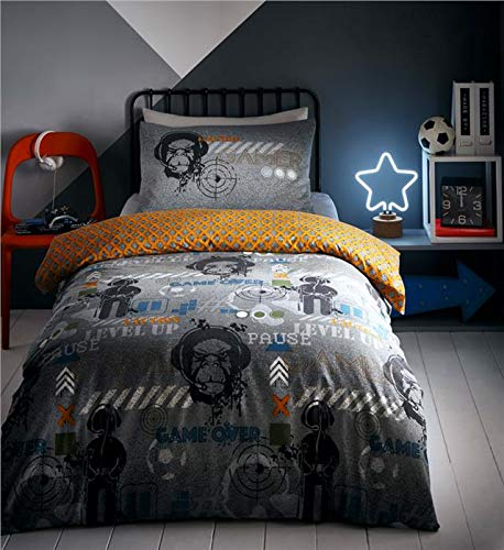 Duvet set computer gamer glow in the dark bedding quilt cover bed sets (Double)