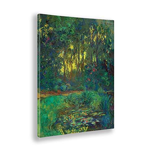 Giallobus - Bild - Claude Monet - Wald und Blumen - Druck auf Leinwand - Bereit zum Aufhängen - Verschiedene Größen - 100X140 cm