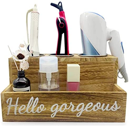 Wooden Hair Tool Organizer Blow Hair Dry and Straightener Holder Curling Iron Holder Flat Iron product image