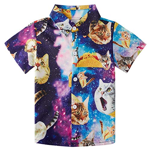 RAISEVERN Little Boy's Button Down Shirts Galaxy Cat Short Sleeve Cartoon Colorful Taco Cats Dress Shirt for Toddler (2-3T)