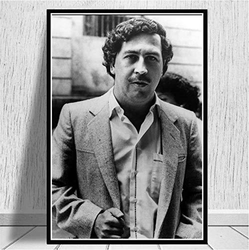 Cravd Póster Pablo Escobar Legend Retro Movie Actor Arte De La Pared Pintura Al Óleo Moderna Impresiones De Imágenes Lienzo Living Home Room Decor 50 × 70Cm Sin Marco