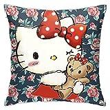 pingshang Funda de cojín de poliéster con diseño de Hello Kitty, ideal para sofá, sala de estar y dormitorio (45 x 45 cm)