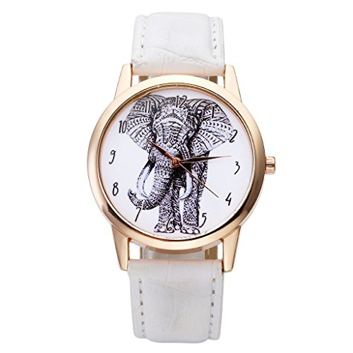 Top Plaza Black and White Sketch Elephant Dial Arabic Numerals Scale Rose Gold Case Leather Band Analog Quartz Wrist Watch-White