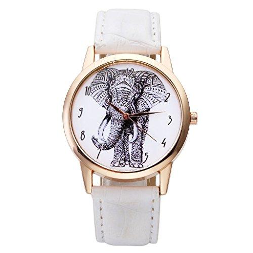 JSDDE – Quartz-Armbanduhr mit Schwarzweißzeichnung eines Elefanten und arabischen Zahlen auf dem Ziffernblatt, Gehäuse in Rotgold, Lederarmband, analog - Weiß