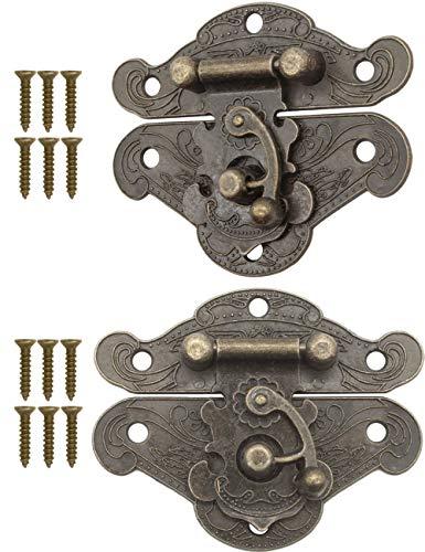 FUXXER® - 2x Antike Verschlüsse, Rast-Haken, Schloss, Bronze Eisen Design, Beschläge für Truhen Kisten Schieber, 64 x 50 mm inkl. Schrauben, 2er Set