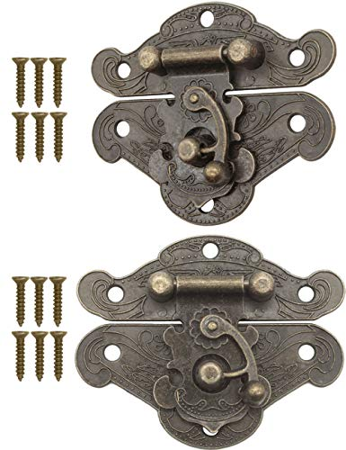 FUXXER - 2 cierres antiguos, ganchos, candado, diseño de hierro de bronce, herrajes para cajas, 64 x 50 mm, incluye tornillos, juego de 2 unidades.