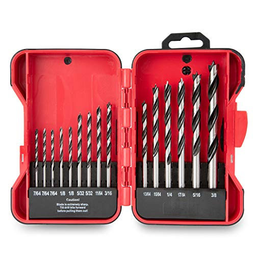 Hyper Tough 15-Piece Brad Point Drill Bit Set with Case