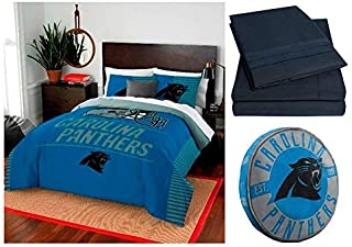 Northwest NFL Carolina Panthers Draft 8pc Queen Bedding Set - Includes Comforter, 2 Shams, Flat Sheet, Fitted Sheet, 2 Pillowcases, and Cloud Pillow
