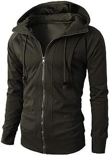 Sunhusing Men's Solid Color Long Sleeve Multi-Button Pocket Zip Lapel Short Outwear Slim Sweatshirt Jacket