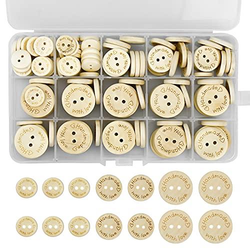 DESON 150 Pezzi Bottoni in Legno Rotondo [ Handmade with Love ] 15mm 20mm 25mm Bottone Decorativi Artigianali per Decorazioni di Cucito e Lavorazione