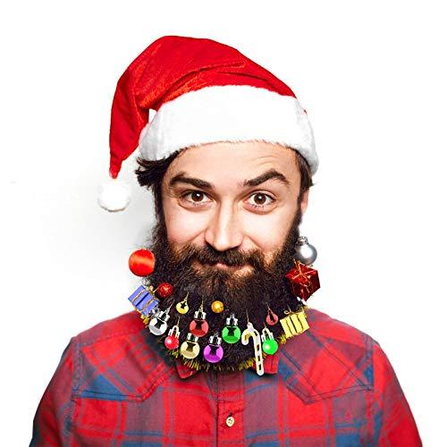 Aitsite 31 Weihnachtsdekorationen, 6 leuchtende Bartdekorationen, 6 Weihnachtsmann-Bartclips, 15 Bart-Weihnachtsdekorationen, 4 besondere Geschenkanhänger