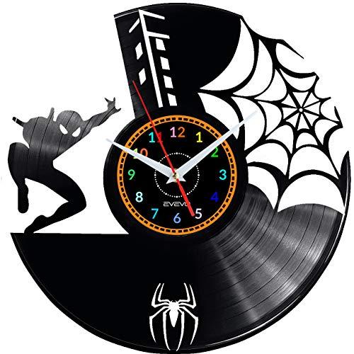 EVEVO Spiderman Wanduhr Vinyl Schallplatte Retro-Uhr groß Uhren Style Raum Home Dekorationen Tolles Geschenk Wanduhr Spiderman