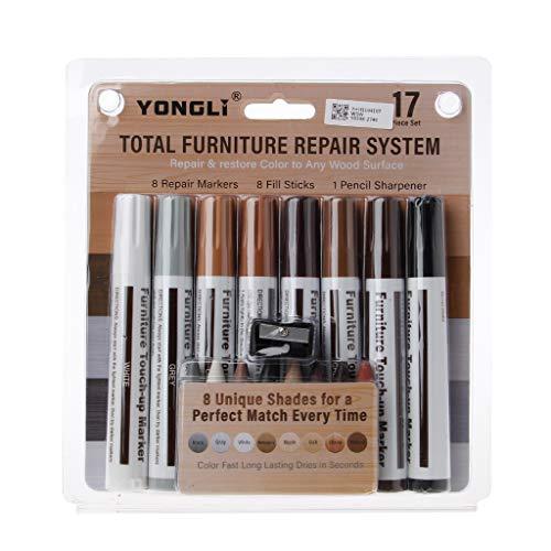 Set di penne da pittura, pennarelli per mobili, kit di pennarelli e bastoni riempitivi, kit di riparazione graffi su legno, pennarello indelebile a punta fine per rocce, vetro, legno, 17 pezzi