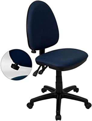 Flash Furniture Mid-Back Navy Blue Fabric Multifunction Swivel Ergonomic Task Office Chair with Adjustable Lumbar Support