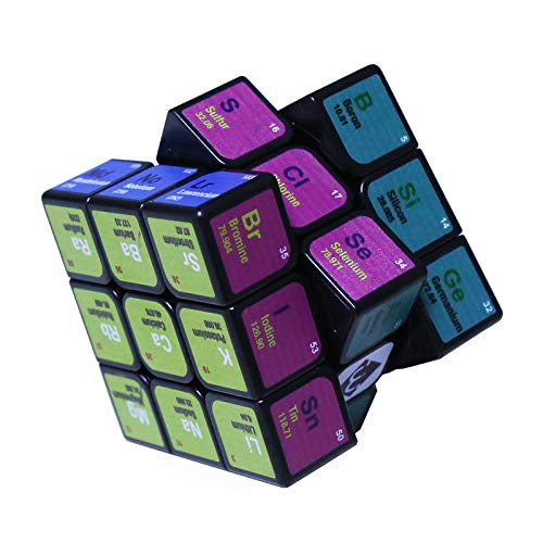 LoveIyPet Magic Cube 3x3 UV Chemical Element Periodic Table Speed Cube, Super & Durable, Best 3x3 Cube Puzzles Toys, Turns Quicker Than Original, Black