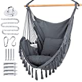 WBHome Extra Large Hammock Chair Swing with Hardware Kit, Hanging Macrame Chair Cotton Canvas,...