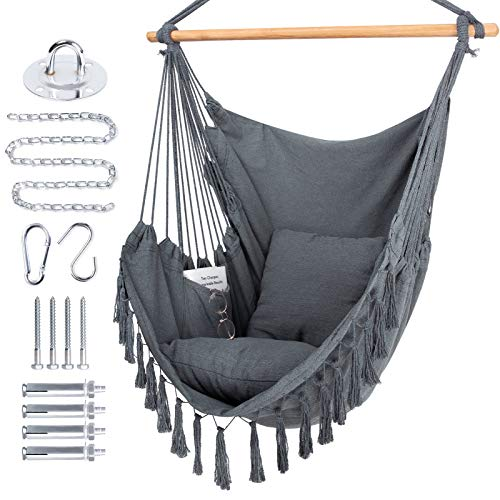 WBHome Extra Large Hammock Chair Swing with Hardware Kit, Hanging Macrame Chair Cotton Canvas, Include Carry Bag & Two Soft Seat Cushions, for Bedroom Indoor Outdoor, Max. Weight 330 Lbs (Grey)