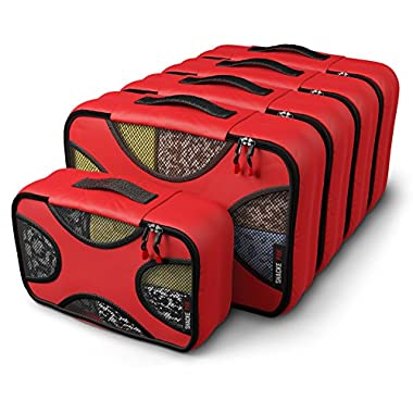 Shacke Pak - 5 Set Packing Cubes - Medium/Small – Luggage Packing Travel Organizers (Warm Red)