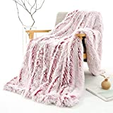 YOU SA Long Shaggy Hair Faux Fur Fluffy Blanket, Decorative Sofa/Couch and Floor Throw - Warm/Cozy/Super Soft Bed or Car Cover (Wine-Red Based,51''x63'')