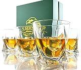 Amerigo Premium Whisky Set De 4 Vasos En Caja De Regalo Vasos De Whisky Twist 12oz para Whisky - Whisky De Regalo para Hombres - Vasos De Vidrio - Regalo del Día del Padre - Set De Bar