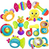 iPlay, iLearn 10pcs Baby Rattles Teether, Shaker, Grab and Spin Rattle, Musical Toy Set, Early Educational Toys for 3, 6, 9, 12 Month Baby Infant, Newborn