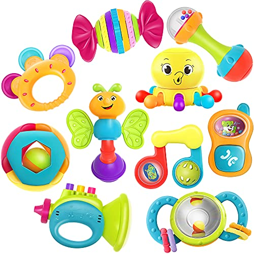 iPlay, iLearn 10pcs Baby Rattle Toys, Infant Shaker, Teether, Grab and Spin Rattles, Musical Toy Set, Early Educational, Newborn Baby Gifts for 0, 3, 6, 9, 12 Months, Girls, Boys