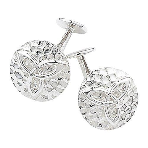 Boutons de manchette-Martelé Celtique du noeud de la Trinité en argent 925 avec perles style Celtique irlandais Bijoux-Livré dans coffret cadeau