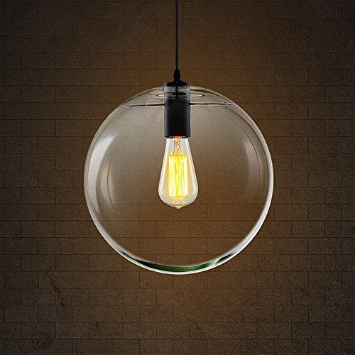 Hines Industriel Rétro Clair Globe Verre Abat-Jour Plafond Pendentif Lumière Clair Boule Boule Lustres Vintage En Métal Transparent Lampe Suspendue pour Café Bar Restaurant (Size : 25cm/9.84in)