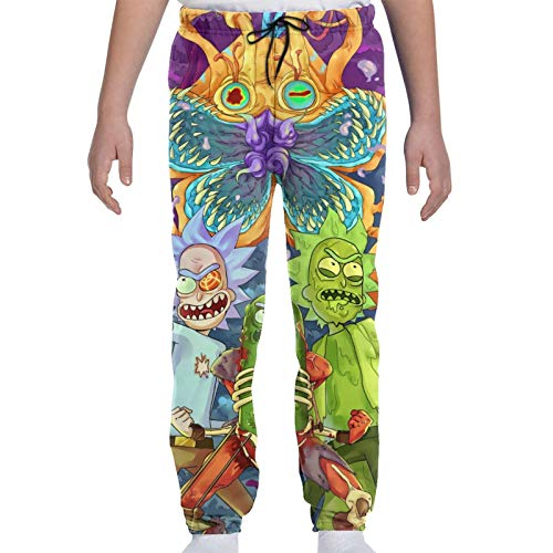 LAOLUCKY RIC-k and Mor-ty Monster Pickle Rick Lazer Jungle Teenager Sweatpants Drawstring Fashion Sweatpant with Pockets
