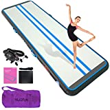 HIJOFUN Premium Air Tumble Track 20ftx3.3ftx8in Gymnastics Tumbling Mat Inflatable Tumble Track with Electric Air Pump for Home Kids,Gym,Yoga,Training,Cheerleading,Outdoor,Beach,Park Blue