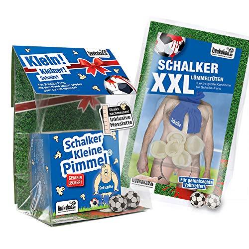 Schalke Boxershorts ist jetzt KLEINE PIMMEL Set 1: KLEINE Schadenfreude by Ligakakao.de blau-weiß männer Shorts Unterhosen