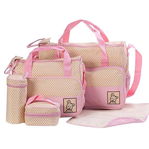 5 Pcs Sacs à Langer pour Bébé Momie Sac Fourre-tout Sac à Bandoulière de Voyage A pink