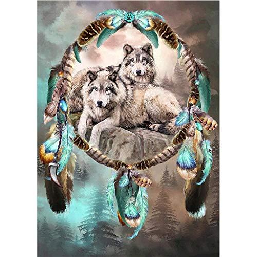 MIKI-Z Kit de pintura de diamantes de imitación con forma redonda 5D atrapasueños lobo