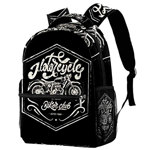 Sports Backpack Gym Bags with Shoe Compartment Wet Pocket Travel Backpacks Anti-Theft Pocket Water Resistant Workout Bag (Colorful)Motorcycle Print Design