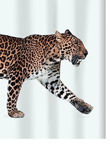 """Spirella Anti-Schimmel Duschvorhang - Anti-Bakteriell, waschbar, wasserdicht, Polyester, """"Leopard"""" 180x200cm Weiß"""