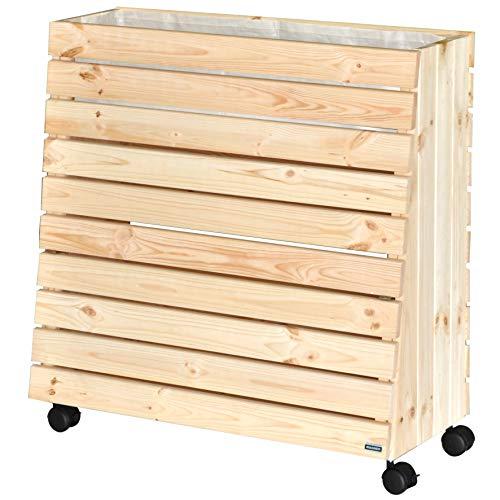 WAGNER - Jardinera portátil de madera maciza natural, con ruedas y bolsa para...