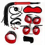 WWJ XS 8 Pcs Parejas Funny Set Set Bôňdáæ Set Rêšt-la Fiesta Háńd Cûffs Juguetes (Color: Negro Rojo) Camiseta, Gafas de sol