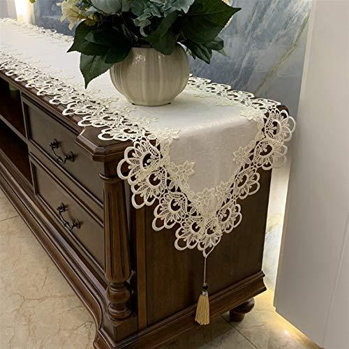 GIAOGIAO Spitze Tischläufer, europäische antike Jacquard-Stoff-Tischläufer-Kommode-Schal gestickte Rosenblume-F-40x300cm (16x118 Zoll) (Color : B, Size : 40x160cm(16x63inch))