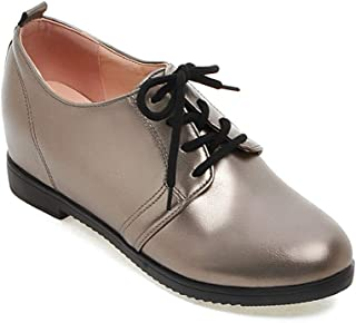 Judy Bacon Women's Round Toe Wedge Casual Loafers Lace Up Chunky Platform Mid Heel Vegan Dress Oxford Shoes