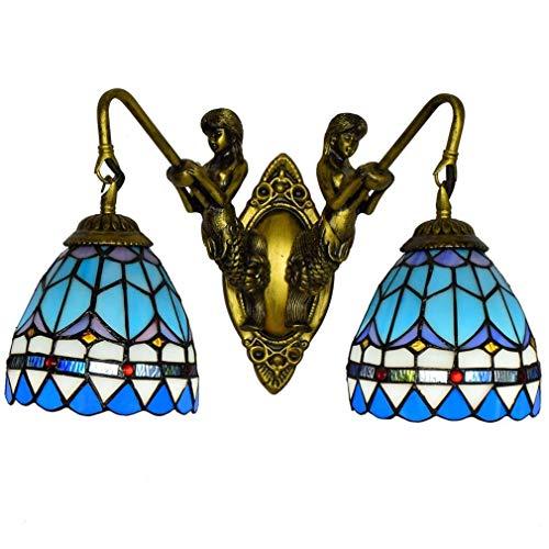 THj Lámpara de Pared y Aplique de Pared Azul mediterráneo, lámpara de Pared de Lectura de 2 Cabezales con vitrales Estilo Tiffany, Faro de Espejo de baño con Base de Resina de Sirena, E27