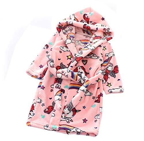 XINNE Jungen Mädchen Kapuzen-Bademantel Unisex Kleinkinder Morgenmantel Weichem Flanell Pyjamas Nachtwäsche Nachthemd Größe 100 Rosa Pferd